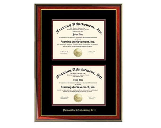 Dual Diploma Frame Double Certificate Frames Embossed Two Document Satin Rich Mahogany Gold Accents Top mat Black Inner matted Maroon