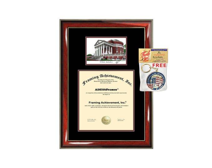 University of Virginia diploma frame lithograph campus image UVA certificate degree frames framing gift graduation plaque college graduate