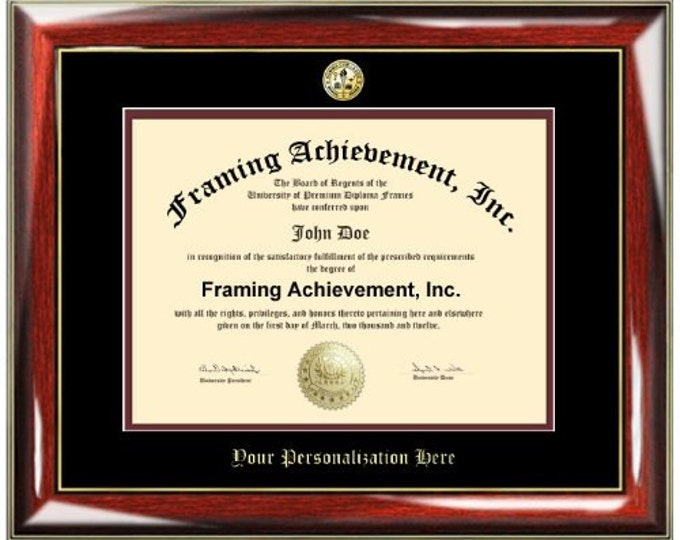 University Diploma Frame Gold Embossing College Major Degree Seal College Graduation Degree Frames Top matted Black Inner mat Maroon
