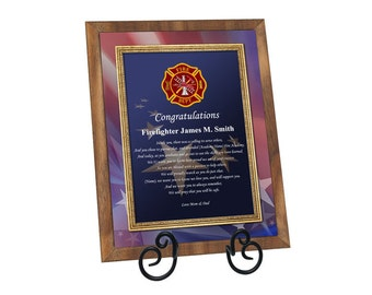 Firefighter Academy Graduation Gift Fire School Graduate Poem Walnut Plaque Fireman Present with Easel