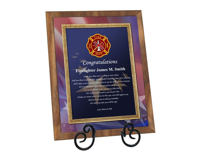 Firefighter Academy Graduation Gift Fire School Graduate Poem Walnut Plaque Fireman Present with Easel