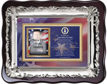 Air Force Picture Frame USAF Photo Frame Plaque Personalized Military Gift Going Away Homecoming Soldier Pilot Present Love Poetry