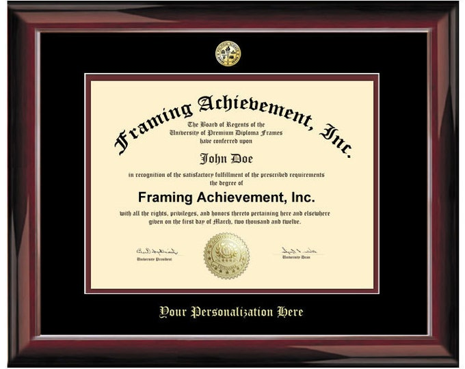 Diploma Frame University Graduation Degree Frames - Glossy Traditional Mahogany Top mat Black Inner mat Maroon Certificate Frame Degree
