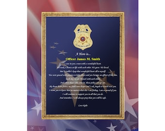 Personalized Love Poem Sheriff Police Officer Present 11x14 Unframed Matted Law Enforcement Poetry Gift Print Policeman