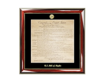 United States Bill of Rights Frame and Replica Print with Gold Embossed Logo Medallion Attorney Lawyer Law School Graduates Graduation Gifts
