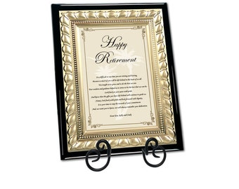 Retirement Gift Best Wishes Farewell Retiring Sayings Poem Gold Metal Designer Plaque for Coworker, Colleague, Boss, Friend