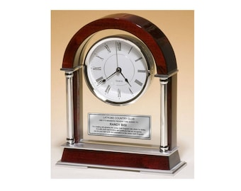 Large Arch Cherry Mantle Clock with Chrome Columns and Engraving Plate Anniversary Employee Retirement Wedding Gift Engraved Clock Award