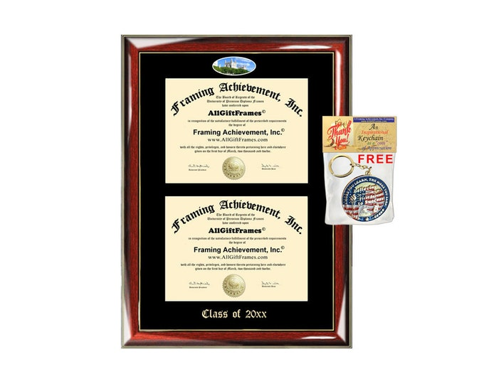 University of Chicago Double Diploma Display University of Chicago Campus Fisheye Photo Two School Major Certificate Emboss Diploma Holder