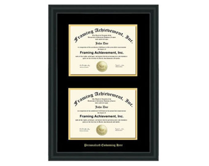 Double University Diploma Frame Double Certificate College Frames Embossed Two Document Satin Matte Black Top mat Black Inner matted Gold