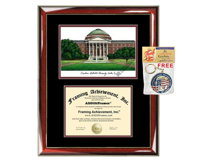 SMU diploma frames Southern Methodist University lithograph frame sketch certificate framing graduation degree gift college document plaque