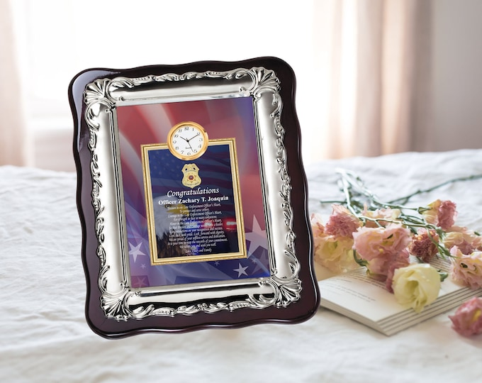 Personalized Sheriff Police Retirement Promotion Gift Clock Plaque Police Officer Deputy Present Retiree Law Enforcement Cops Service Award