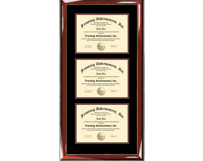 Triple Diploma Frame Certificate Frames University College Plaque Document Holder Framing Three Degrees
