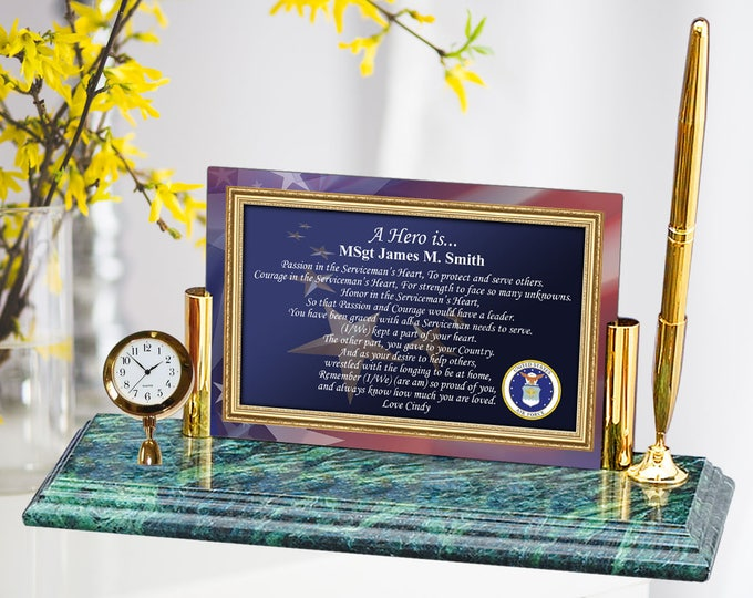 Personalized Military Gift USAF Poetry Mini Clock Pen Air Force Retirement Homecoming Promotion Present Soldier Hero Poem