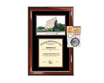 United States Air Force Academy diploma frames lithograph USAFA frame campus image sketch certificate framing graduation degree college grad