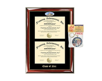 Ferris State University Double Diploma Display Frame FSU Campus Fisheye Photo Two School Major Certificate Case Emboss Frame College Holder