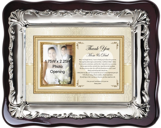 Thank You Parents Wedding Gift Personalized Picture Frame Plaque from Groom Son or Daughter Bride. Wedding Present Photo Frame Father Mother