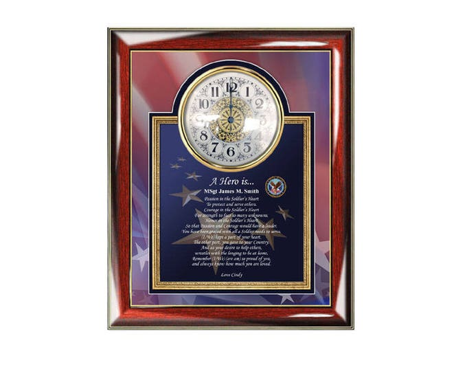 Military Retirement Gift Service Award Personalized Clock Poem Promotion USAF Army USMC US Navy Discharge Going Away Homecoming Retiree