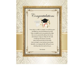 Congratulations College High School Graduation Graduate Unframed 11x14 Matted Poetry Gift Present From Parents Mom Dad