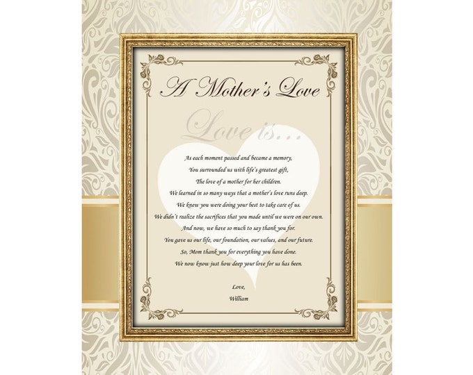 Personalized Mother Gifts Love Birthday Wedding Son Daughter 11x14 Unframed Matted Personalized Mom Appreciation Poem Poetry