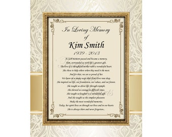 Personalized sympathy poetry print 11x14 unframed matted poem for the grieving with healing words for family friend loss of love one