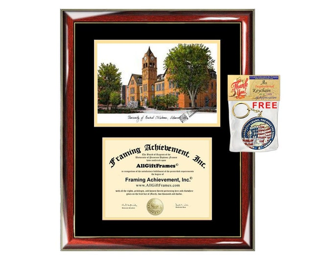 University of Central Oklahoma diploma frames lithograph UCO frame campus image sketch certificate framing graduation degree plaque graduate