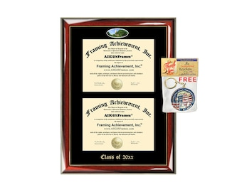 Miami University of Ohio Double Diploma Display Miami Campus Fisheye Photo Two School Major Certificate Diploma Frame Emboss College Holder