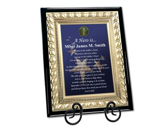 Personalized Military Gift Army Plaque Poem For Retirement Discharge Going Away Homecoming Armed Forces Gold Metal Designer Border