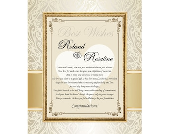 Wedding Anniversary Engagement Gift Personalized Poetry Print Unframed 11x14 Mat Congrats Poems Bride Groom Present