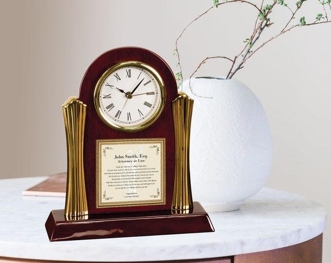 Law School Graduation Gift Present Personalized New Attorney Lawyer Passing Bar Congratulation Poetry Clock Poem Law Gifts