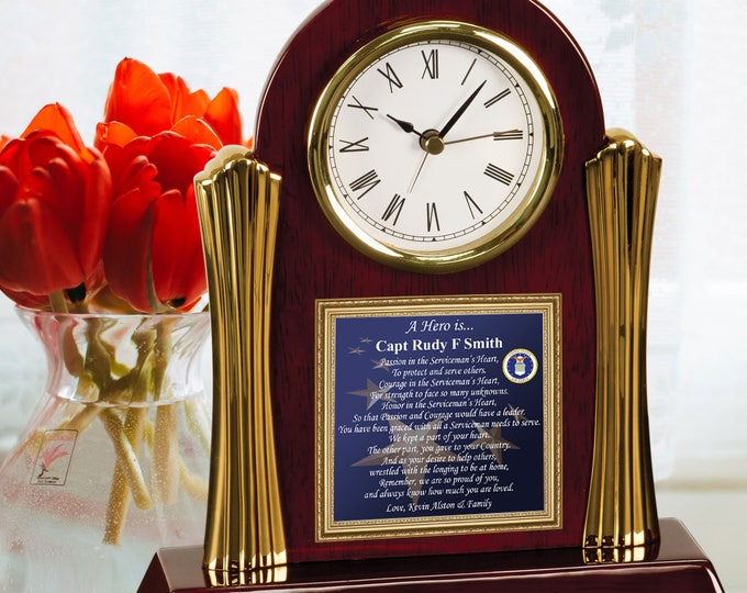 Military Gift Retirement Poetry Cherry Desk Clock Personalized Birthday Present for Soldier Military Hero USAF Navy Marines Air Force