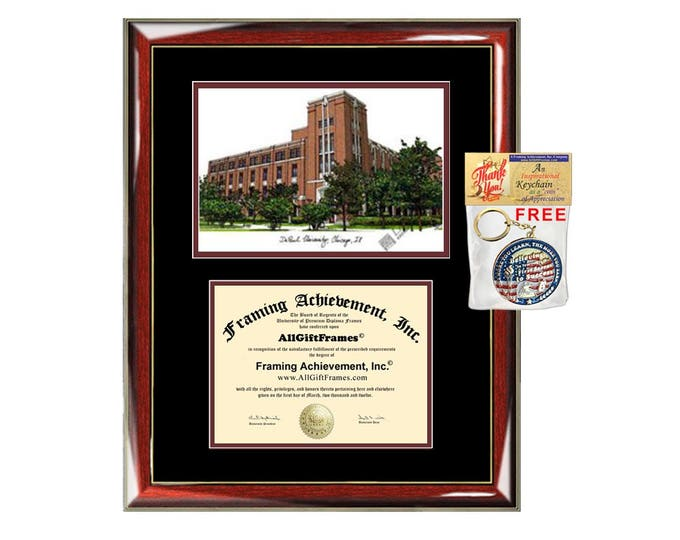 DePaul University diploma frames lithograph campus sketch DePaul frame certificate framing graduation degree gift college document holder