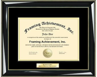 Diploma Frames College Diploma Framing Graduation Gifts Certificate Frames Top matted Black Inner Gold Glossy Black with Gold Accents