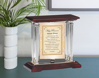 Personalized Employee Retirement Plaque Silver Desk Mantel Swivel Best Wishes Going Away Boss Coworker Retiree Gift Colleague Present