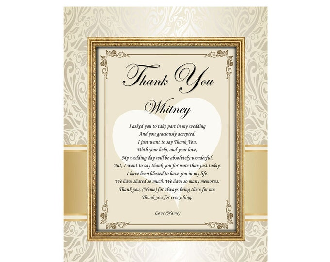 11x14 Unframed Matted Design Print with Bridesmaid or Maid of Honor Thank You Gift Personalized Poetry Thank You Poem from Bride Wedding