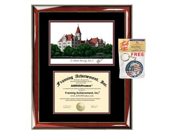 St. Edward's University diploma frames lithograph frame certificate framing campus graduation gift degree SEU graduation plaque graduate
