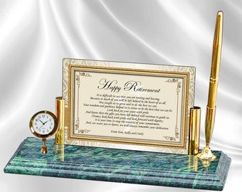 Retirement Gift Colleague Friend Coworker Boss Executive Award Poetry Mini Clock Marble Personalized Retirement Clock Employee Present