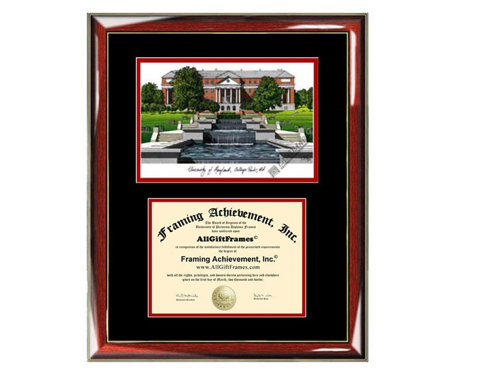 University Maryland College Park diploma frame lithograph campus image UMD certificate degree frames framing gift graduation plaque college