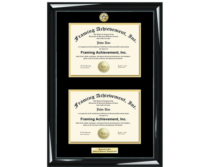 Graduation Double Diploma Frame Engraved University Degree Major Logo Glossy Majestic Black Top mat Black Inner matted Gold Dual Certificate