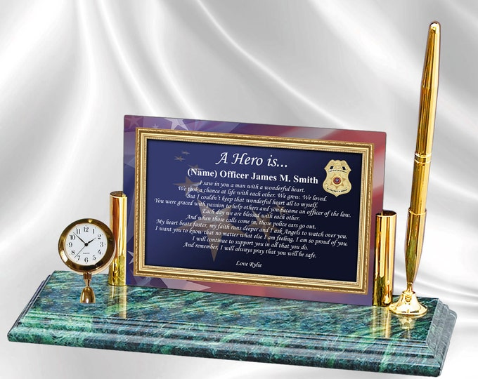 Personalized Law Enforcement Policeman Sheriff Deputy Gift Clock Marble Pen Set Desk Clock Police Officer Poetry Promotion Retirement