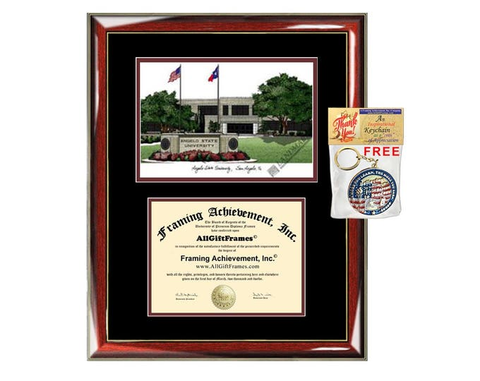 Angelo State University diploma frames ASU lithograph frame certificate framing campus sketch graduation degree gift college document case