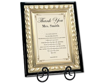 Thank You Professor Teacher Mentor Poem Gift Gold Metal Border Plaque with Easel Unique Educator Present From Students