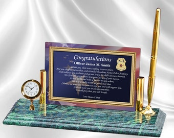 Law Enforcement Police Academy Poetry Mini Clock Marble Pen Personalized Graduation Gift Sheriff School Graduate Policeman Present