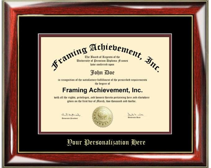 Single College Diploma Frame Collegiate University Diploma Framing Top mat Black Inner mat Maroon Glossy Prestige Certificate Frames Gift
