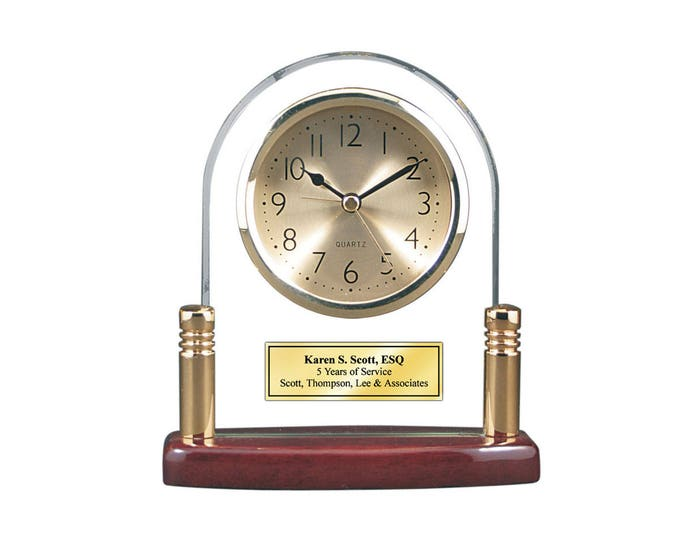 Personalized Glass Arch Desk Clock with Glossy Cherry Base Brass Columns and Gold Engraving Plate. Unique Birthday Retirement Service Award
