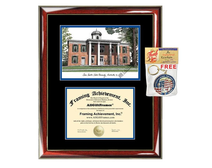 SHSU diploma frames Sam Houston State University lithograph frame campus sketch framing graduation degree gift college plaque certificate
