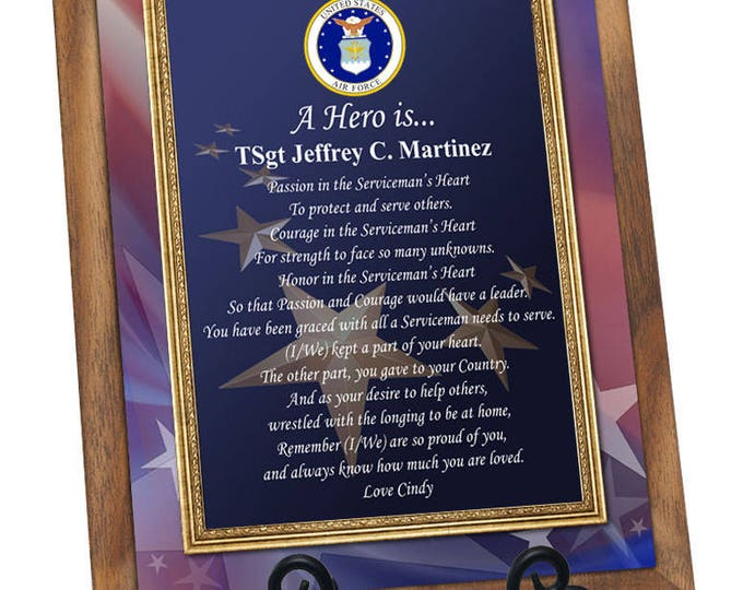 USAF Gift Air Force Plaque for Retirement Homecoming Discharge Going Away Soldier Pilot Present Military Poem