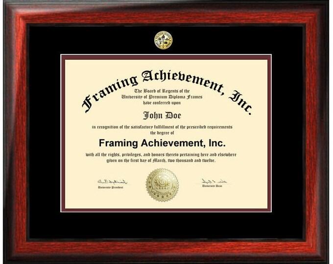 College Diploma Frames - University Major Seal Logos Top matted Black Inner Maroon Collegiate Graduation Degree Frame Gifts Satin Mahogany