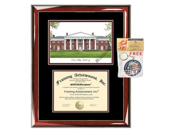 Centre College diploma frame lithograph campus image certificate framing graduation document degree gift graduate picture holder case grad