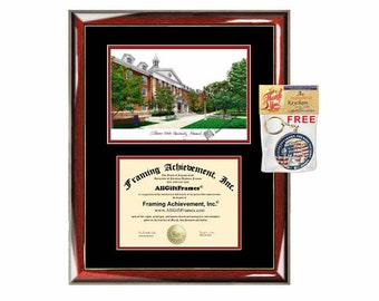 Illinois State University diploma frames lithograph ISU degree frame campus image certificate framing graduation gift college plaque grad