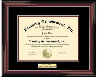 University Frame - College Diploma Framing Plaques Top mat Black Inner matted Maroon Glossy Mahogany Certificate Frame Engraving Plate